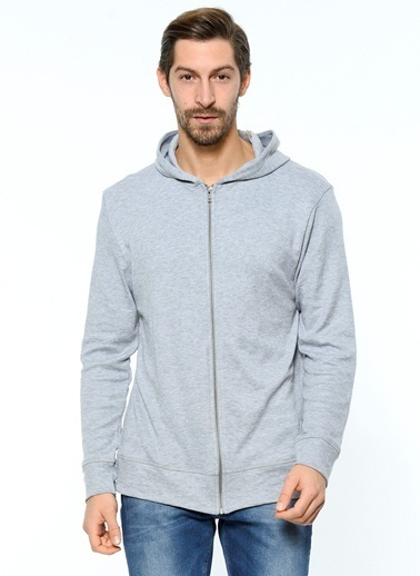 Grip Fermuarlı Kapüşonlu Sweatshirt Gri